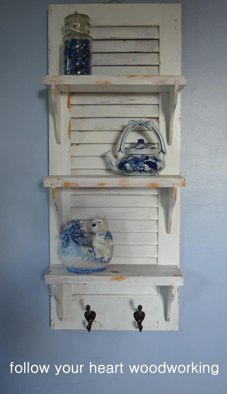 French Country Decor Ideas - Recycled Wooden Shutter Display Shelf - Harpmagazine.com