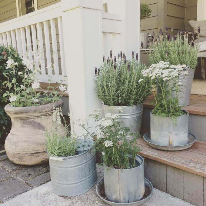Farmhouse Porch Decorating Ideas Tin Pail Porch Planters