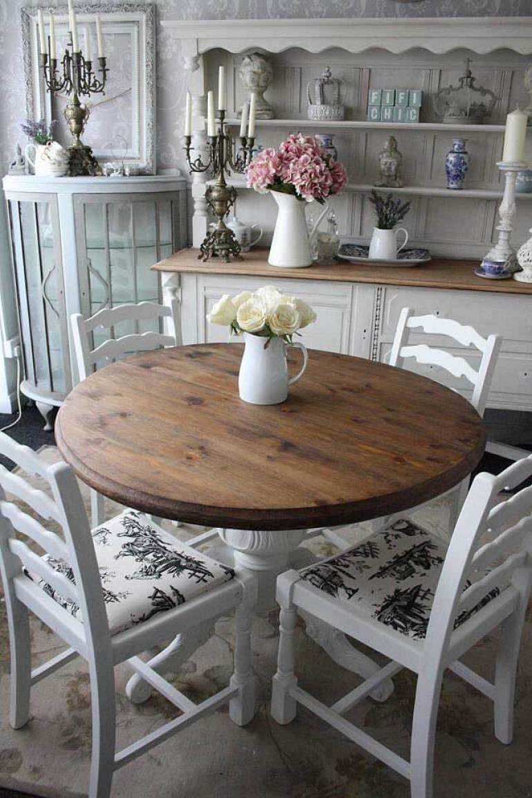 French Country Decor Ideas - Informal Round Wooden Dining Table - Harpmagazine.com