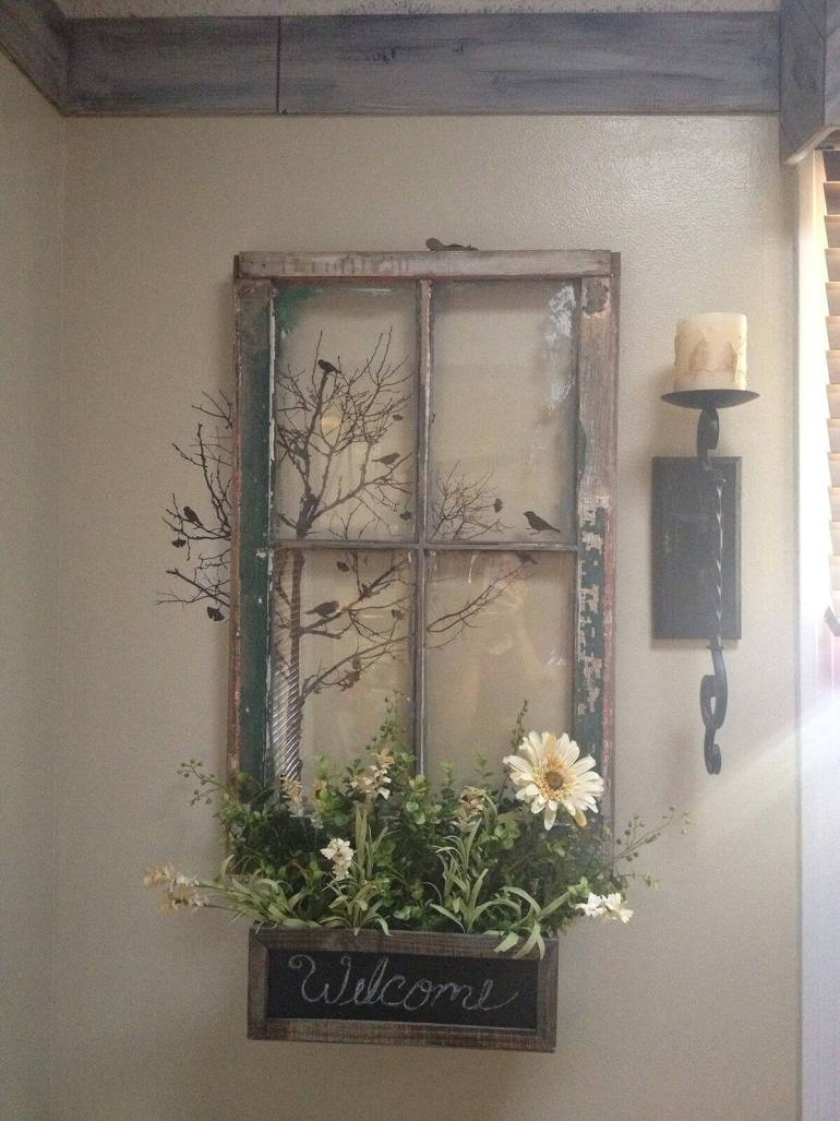 Farmhouse Porch Decorating Ideas - Welcoming Window Repurposed Planter Sign - Harpmagazine.com