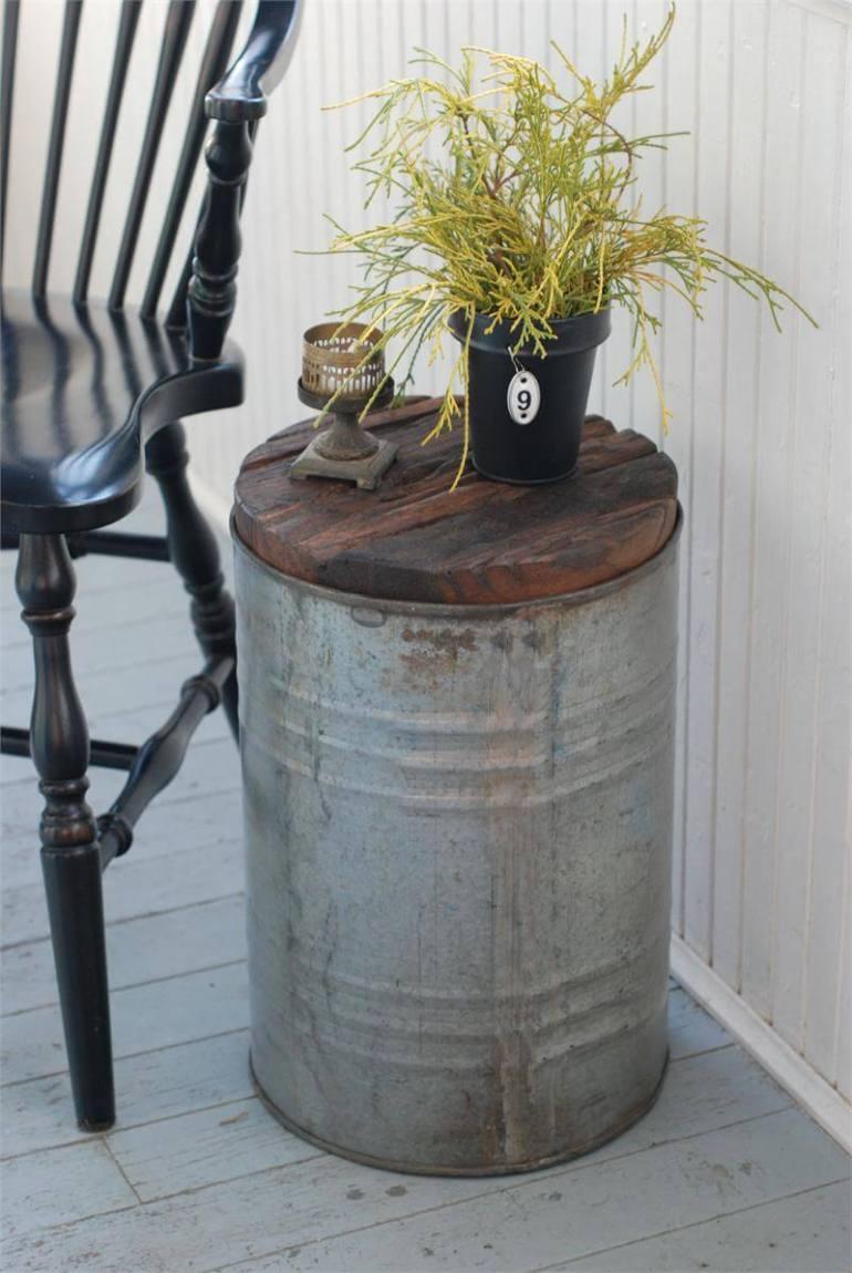 Farmhouse Porch Decorating Ideas - Rustic Tin Pail Wood-Top Table - Harpmagazine.com