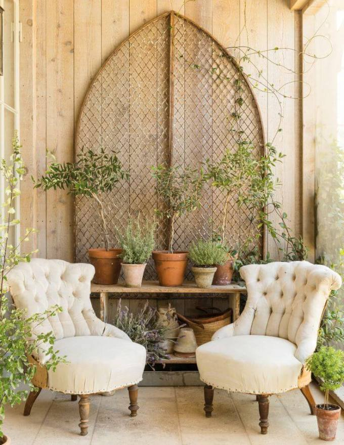 Farmhouse Porch Decorating Ideas - Secret Garden Rustic Porch Setting- Harpmagazine.com