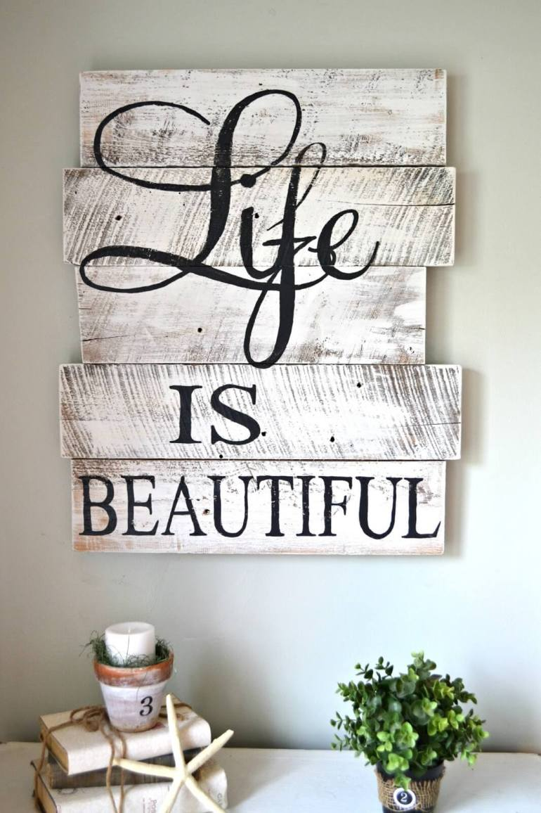 "Wood Signs Ideas - Reclaimed Wood ""Life is Beautiful"" Living Room Decor - harpmagazine.com"