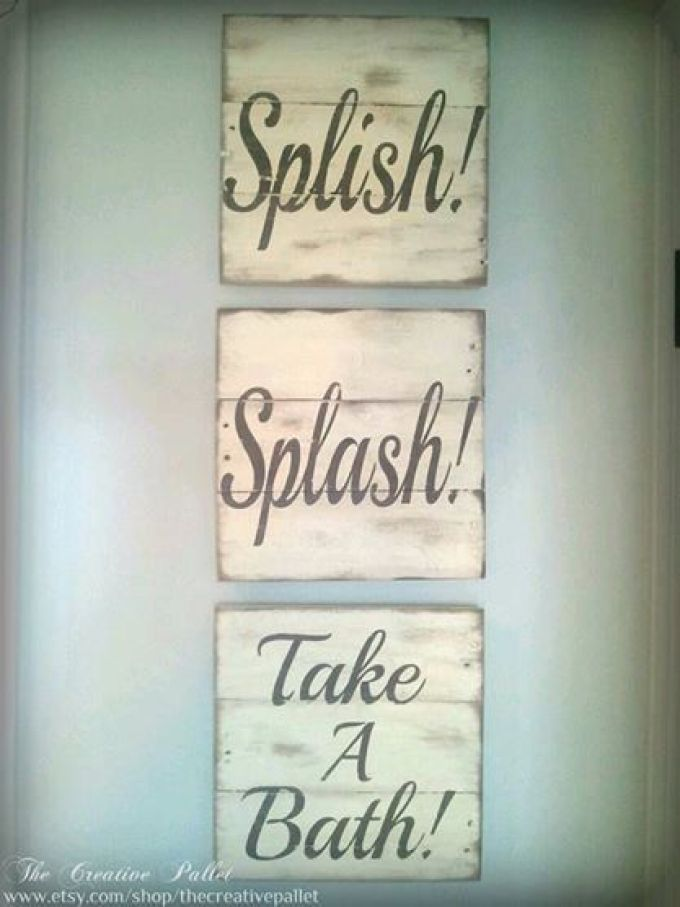 Wood Signs Ideas - Bathroom Sign Trio - harpmagazine.com