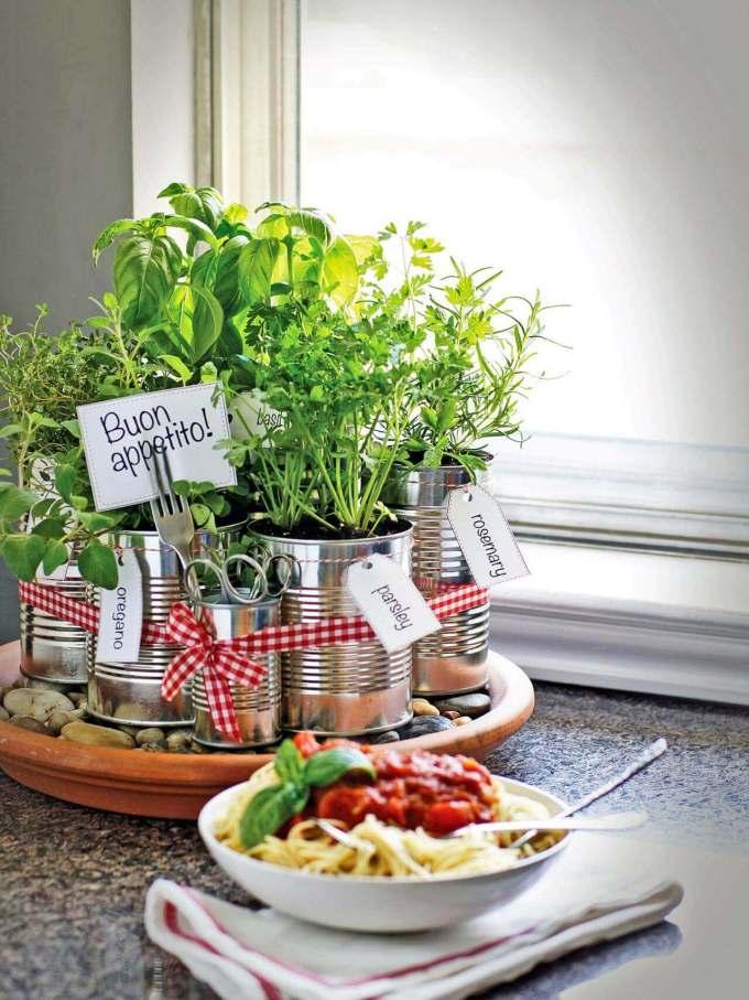 Farmhouse Kitchen Decor Design Ideas - Recycled Coffee Can Kitchen Herb Garden - harpmagazine.com