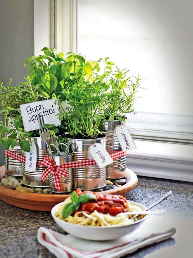 Farmhouse Kitchen Decor Design Ideas - Recycled Coffee Can Kitchen Herb Garden - harpmagazine.com