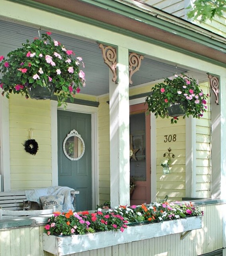 Farmhouse Porch Decorating Ideas - Country Cottage Plant Box & Hangers -harpmagazine.com