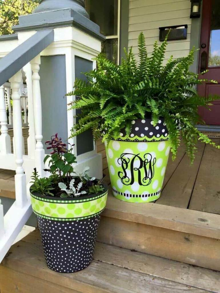 Front Door Flower Pots Ideas - Painted Monogram Porch Planter Duo - harpmagazine.com