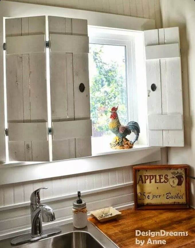 Farmhouse Kitchen Decor Design Ideas - Barnyard Picket Window Shutters with Antiqued Hardware - harpmagazine.com