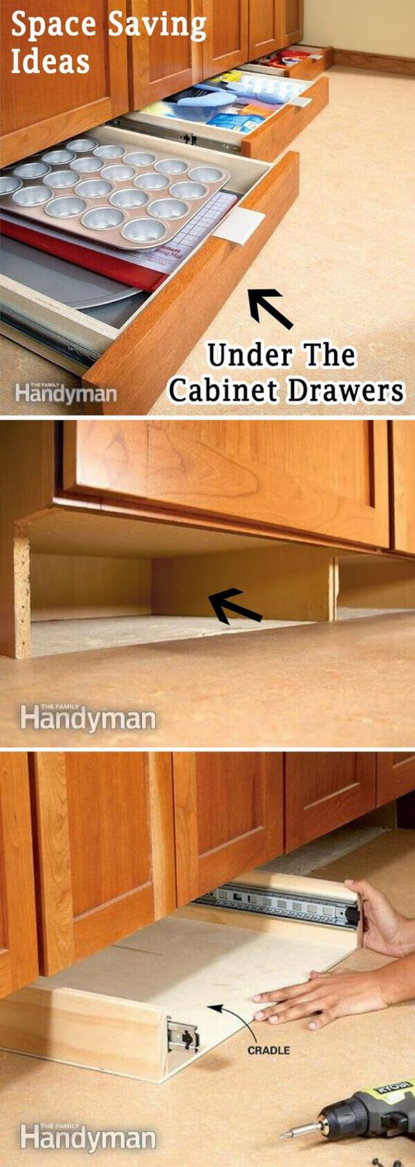 Storage Ideas for Small Spaces - Maximize the Space Beneath Kitchen Cabinets - Harpmagazine.com