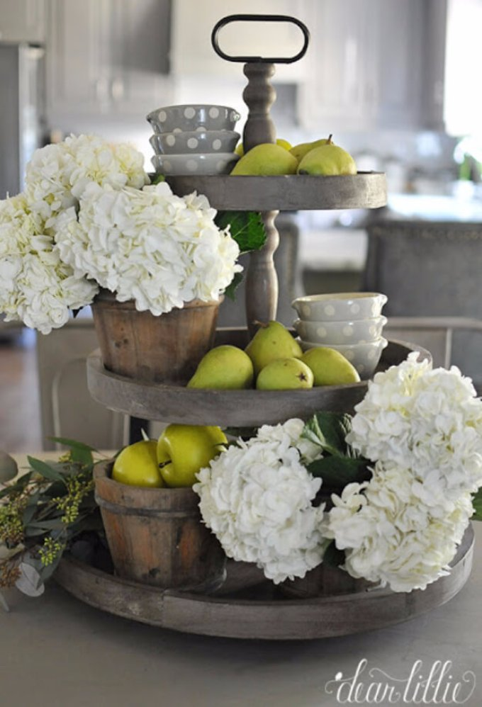 Farmhouse Kitchen Decor Design Ideas - Weathered Gray Tiered Fruit and Flower Stand - harpmagazine.com