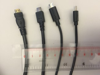 gauges (thickness) of different USB cables
