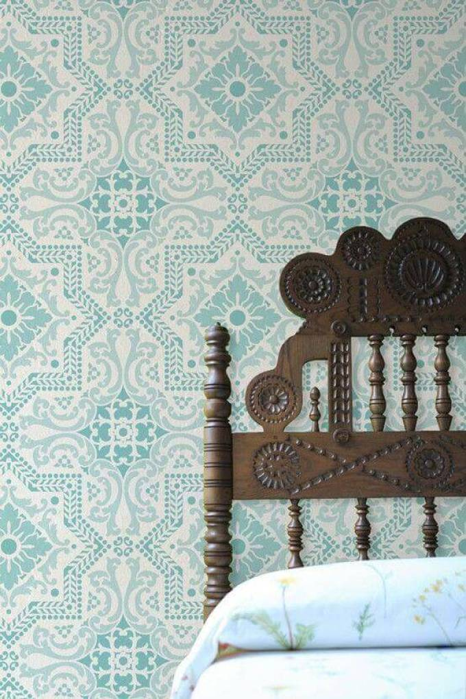 Bedroom Paint Colors Classic Turquoise Patterned Wall - Harppost.com