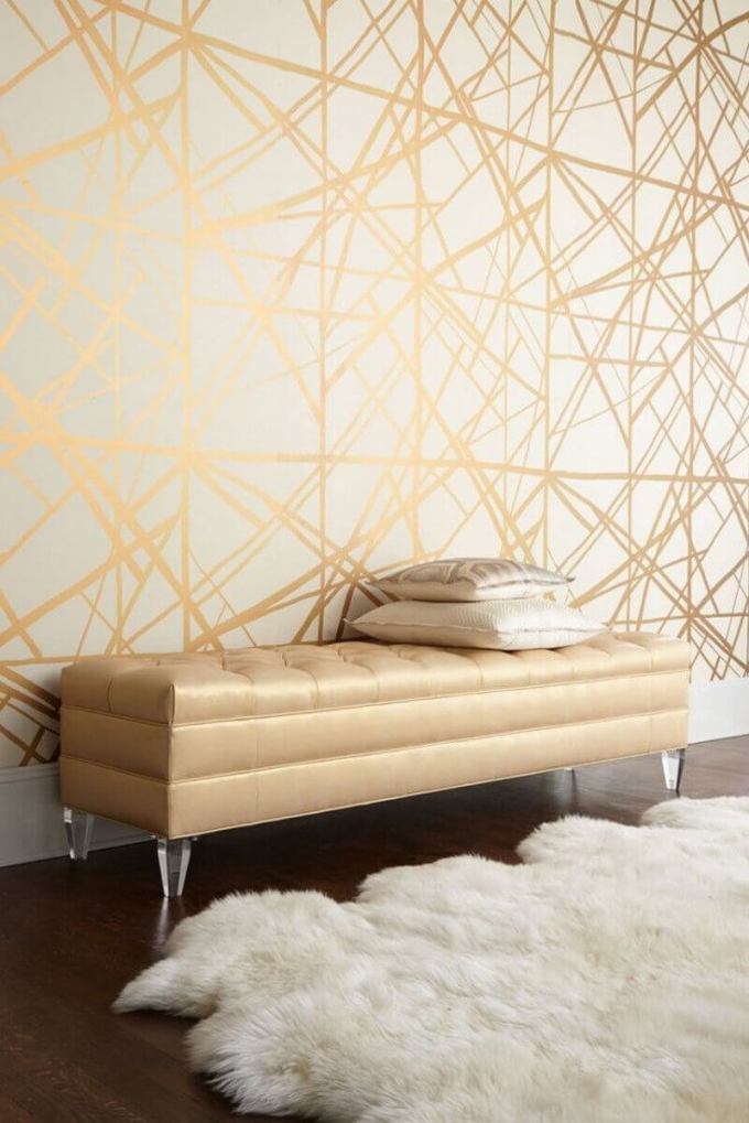 Bedroom Paint Colors Glittering Golden Web on The Wall - Harppost.com
