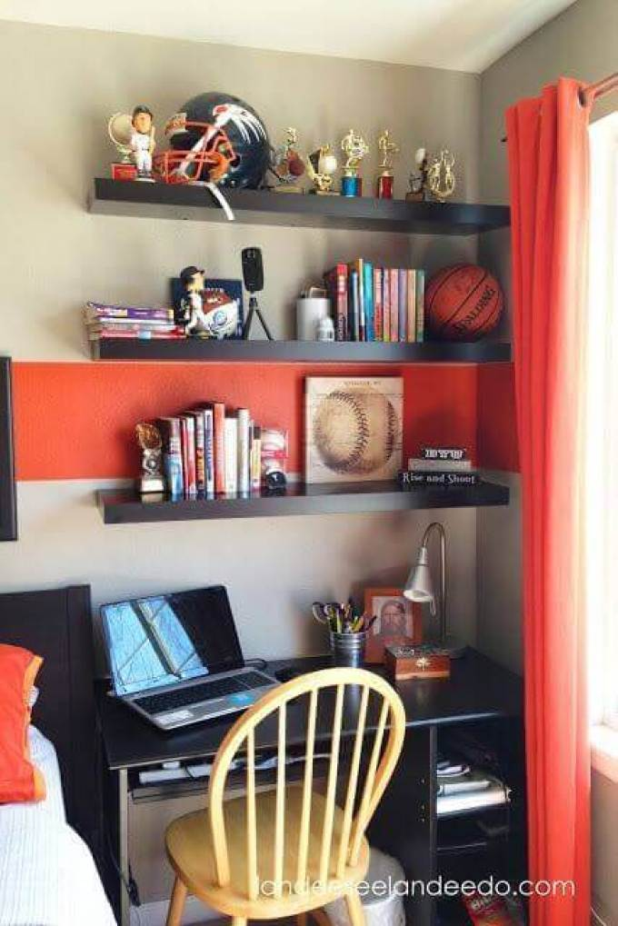 Boys Bedroom Ideas Trophies and The Orange Accents - Harppost.com