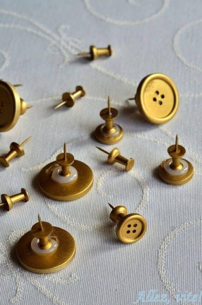 Cork Board Ideas DIY Golden Pins for Your Cork Boards - Harppost.com