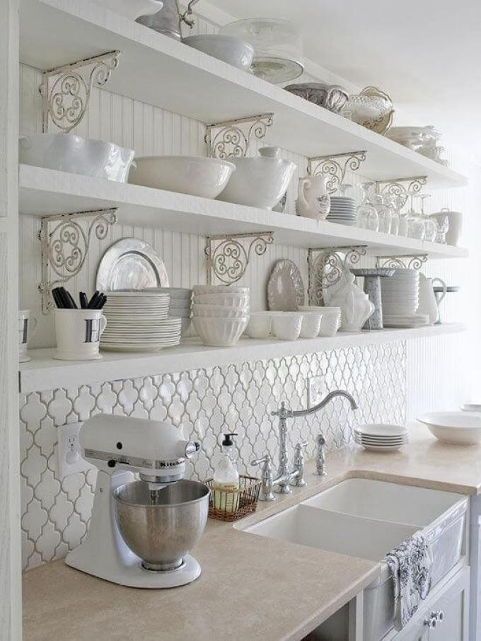French Country Decor All-White Kitchen with Open Shelves - Harppost.com