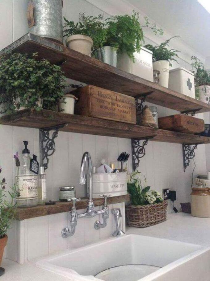French Country Decor Rustic Open Shelves - Harppost.com