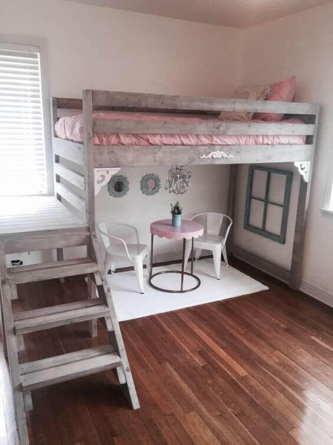 Girls Bedroom Ideas with Vintage Loft Bed - Harppost.com