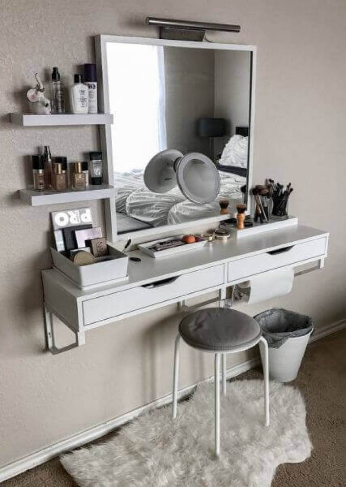 Makeup Room Ideas Floating Dressing Table - Harppost.com