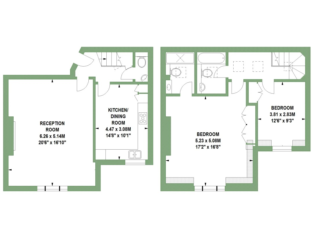Floor Plans by Harpr Surveyors - This is an example of our wall shaded floor plans in colour
