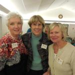 Suzanne Bushnell, Linda Clement, and Elizabeth Dyer enjoying the October meeting