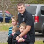 Homeowner Ben Leeman and his three children