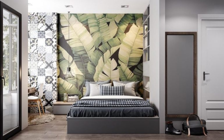 Wallpaper Accent Wall Ideas - Bring The Tropical Forest to Your Room - Harptimes.com
