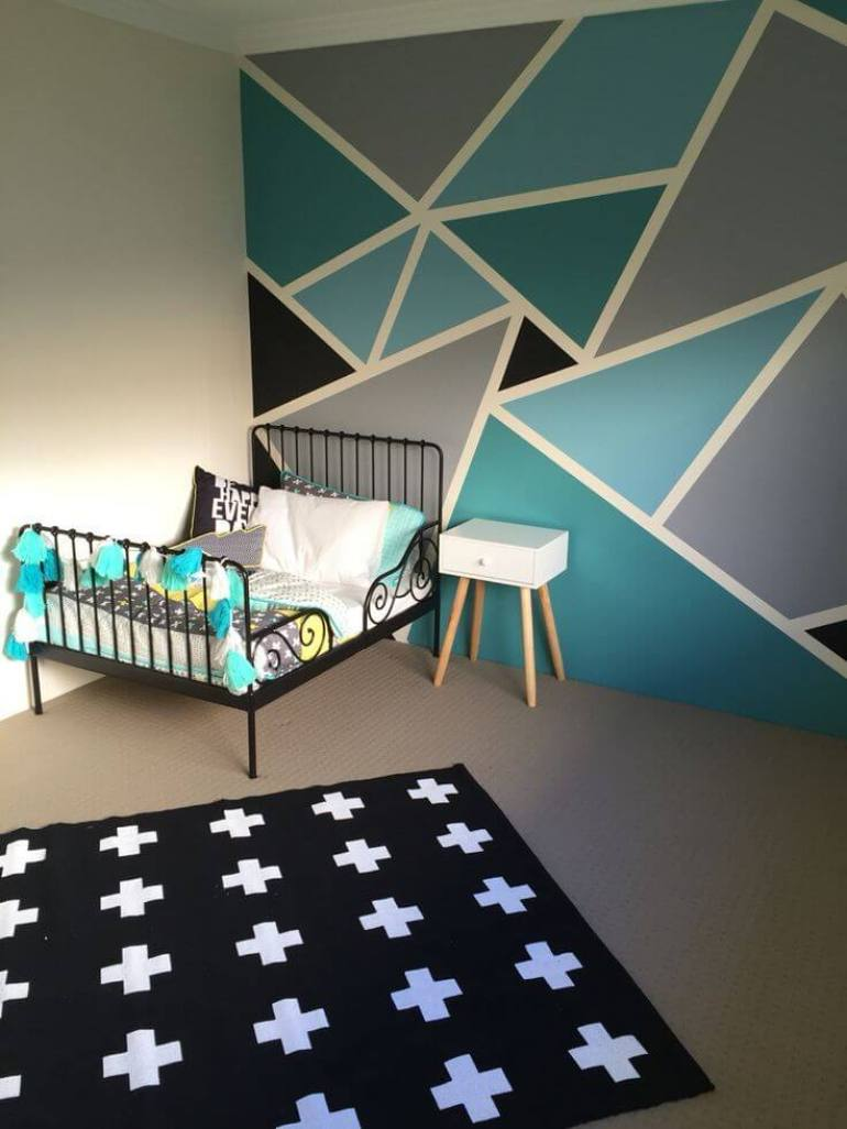 Paint Accent Wall Ideas - Bold Yet Cheerful Triangles - Harptimes.com