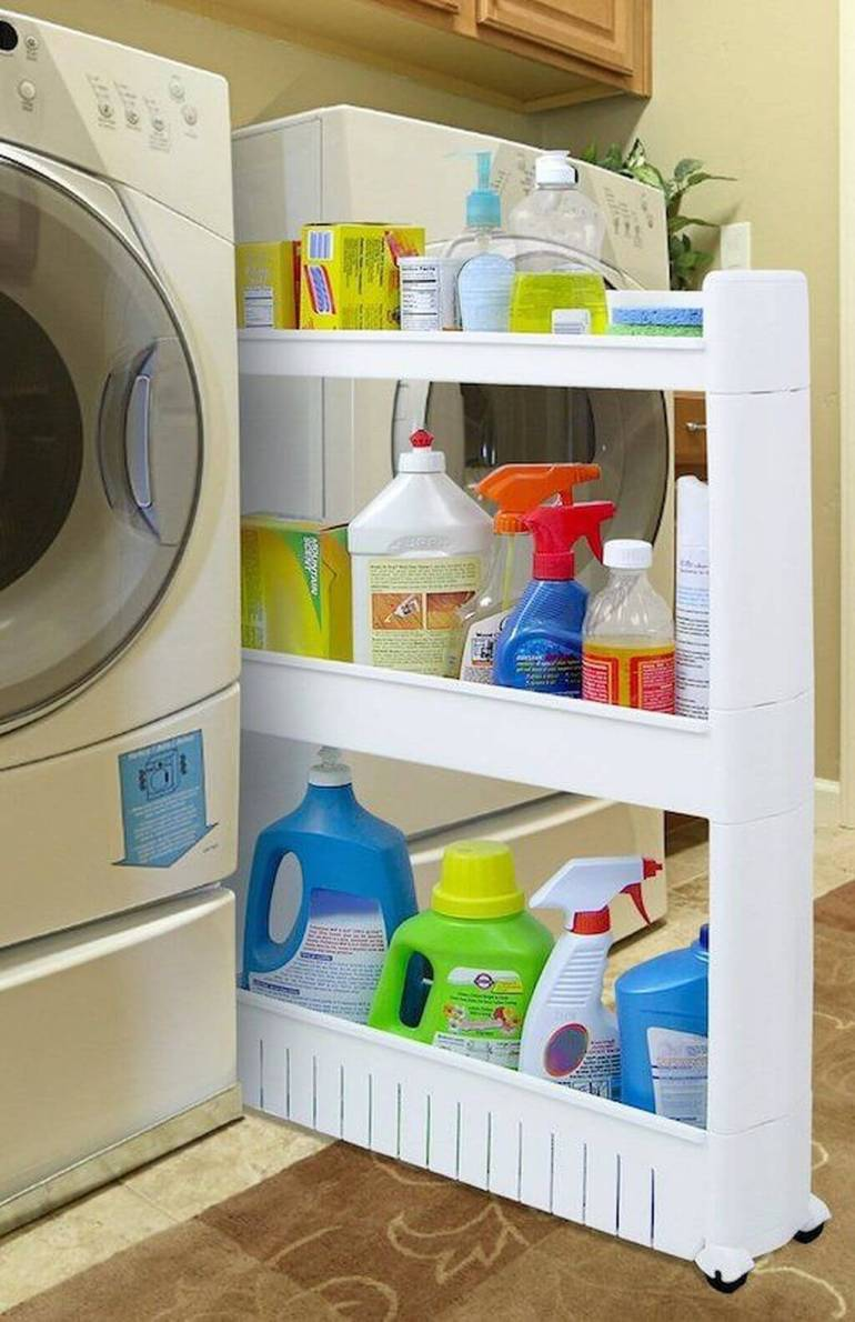 Cute Small Laundry Room Ideas - Pull-Out Rack - Harptimes.com