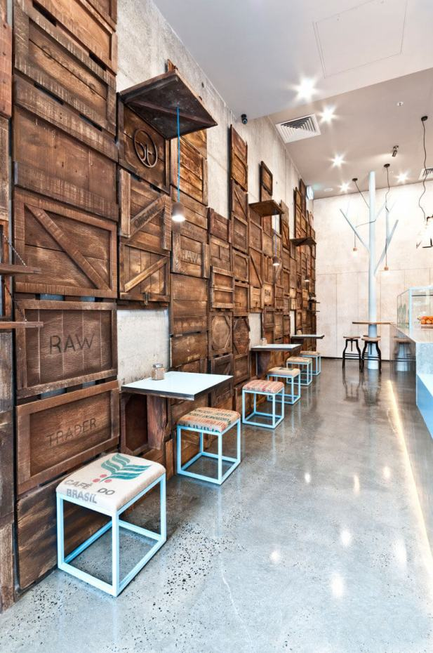 Accent Wall Ideas with Wood Upcycle Old Wooden Crates - Harptimes.com
