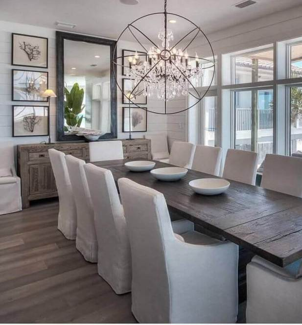 Large Dining Room Wall Decor - A Large Mirror and Some Photographs - Harptimes.com