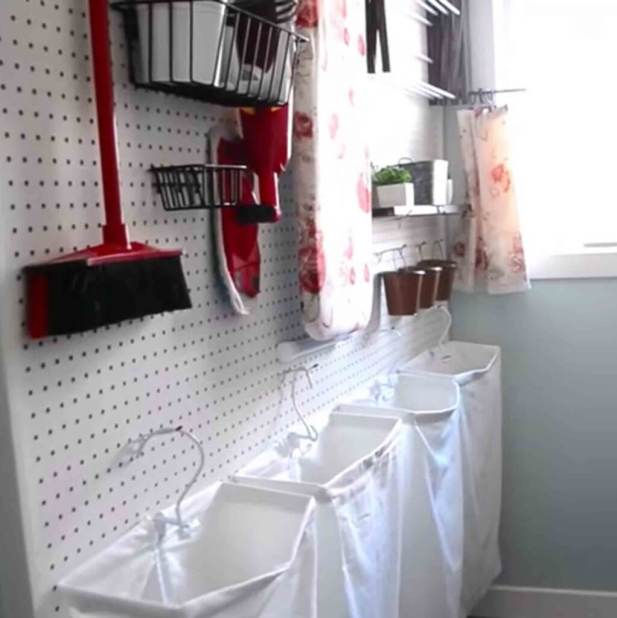 Very Small Laundry Room Ideas - Cover the Wall with Pegboard - Harptimes.com