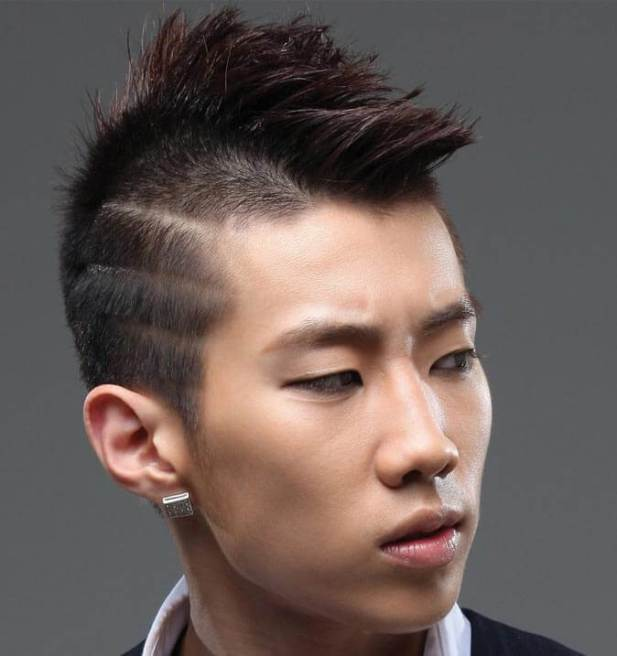 Asian Hairstyles Men Mini Mohawk with Lines Hairstyles - Harptimes.com