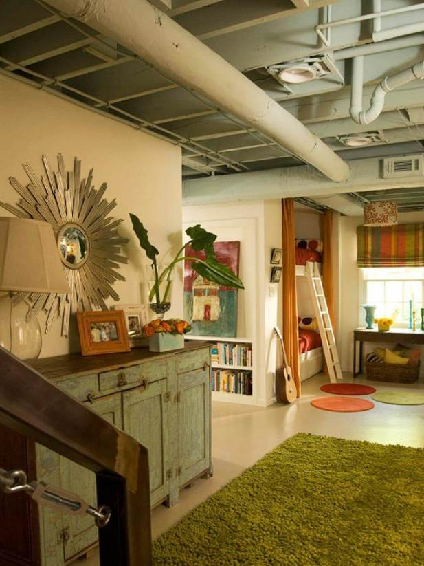 low basement ceiling ideas - 23. Let The Ceiling Shows its Industrial Vibe - Harptimes.com