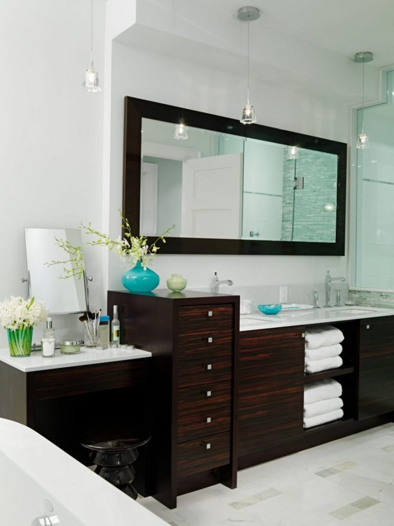 Bathroom Mirror Ideas - Spa-Like Bathroom with Rectangular Mirror - Harptimes.com