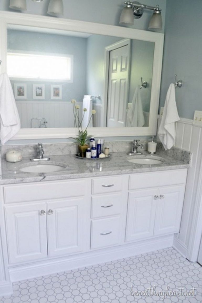 Bathroom Mirror Ideas 12. Elegant White Bathroom Vanity - Harptimes.com