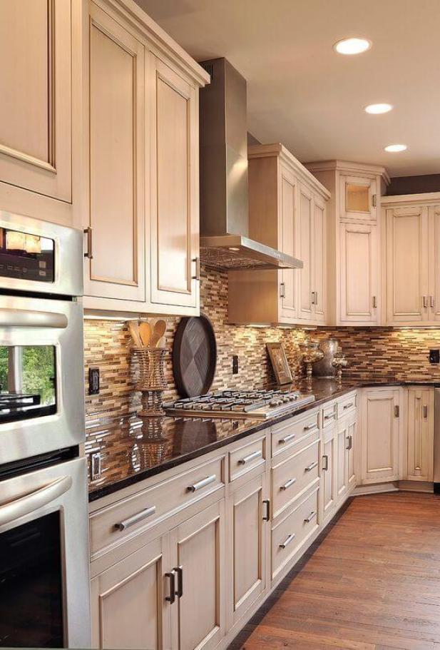 rustic kitchen decor ideas - 21. White Cabinets and Dark Countertop - Harptimes.com