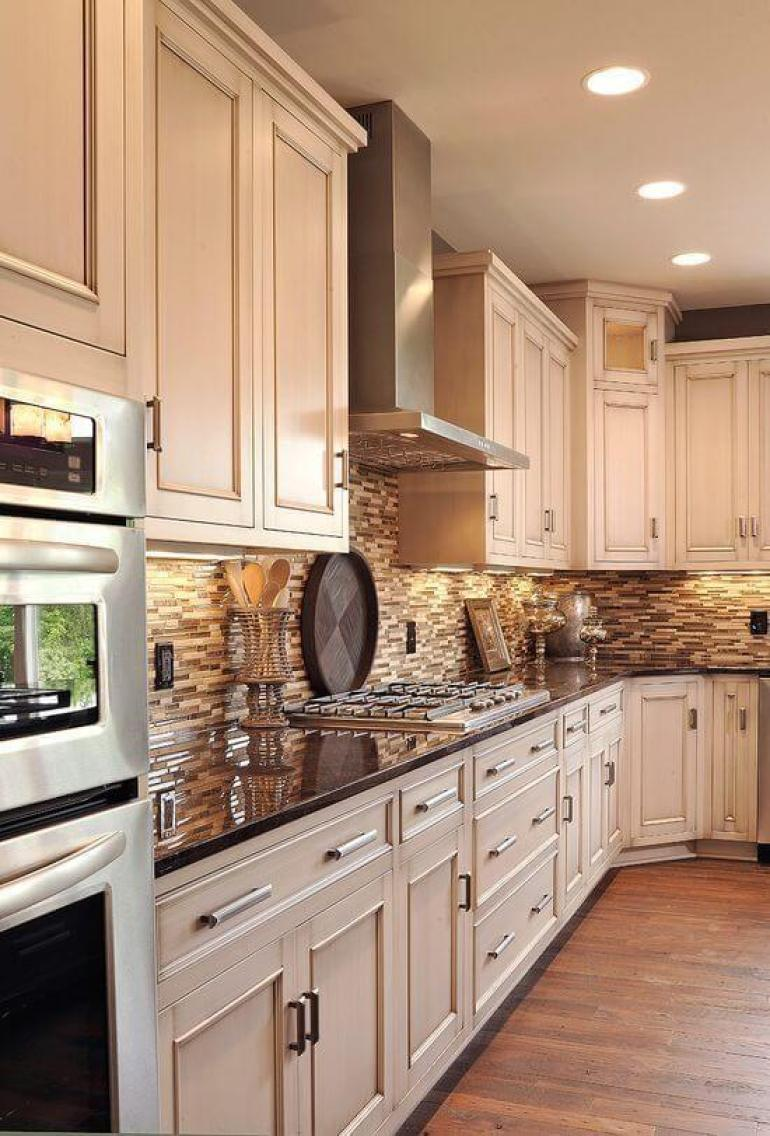 rustic kitchen decor ideas - 21. White Cabinets and Dark Countertop - Harptimes.com