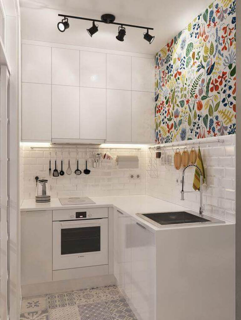 kitchen decor ideas diy - 23. Colorful Wallpaper to Decorate Kitchen - Harptimes.com