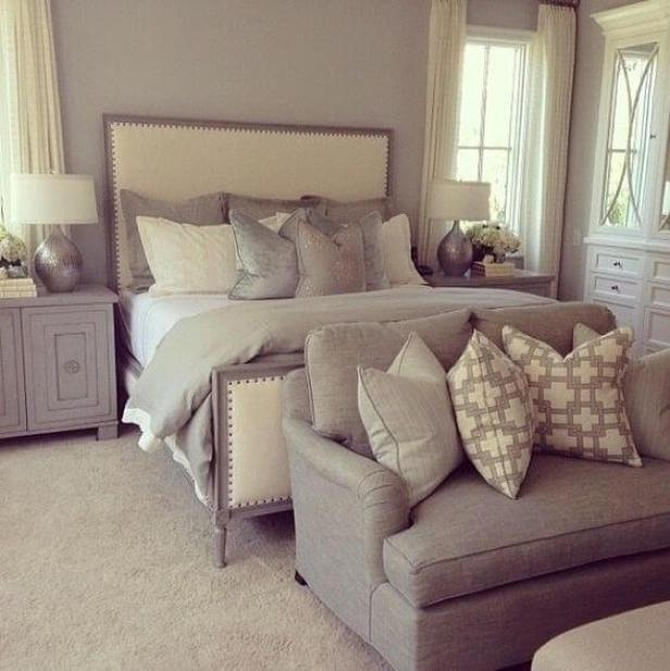 12. Gray and Cream Combination for Master Bedroom Ideas - Harptimes.com
