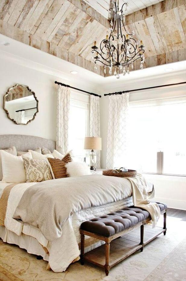 8. Vintage Master Bedroom Ideas with Rustic Ceiling - Harptimes.com