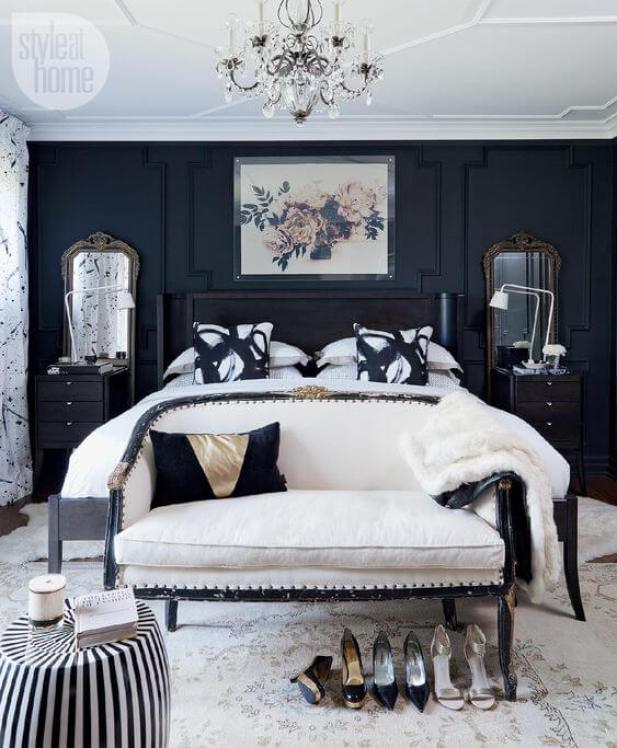 10. Gray and Navy Master Bedroom Ideas with Oriental Art - Harptimes.com