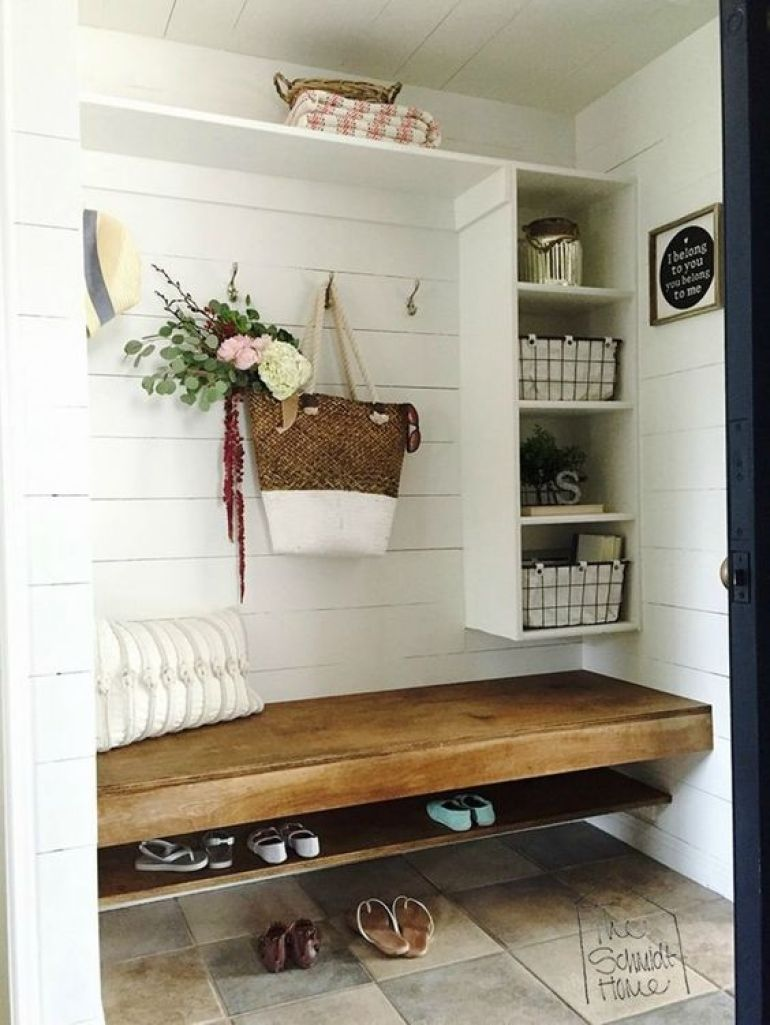 laundry mudroom ideas - 21. Mudroom with Floating Bench - Harptimes.com