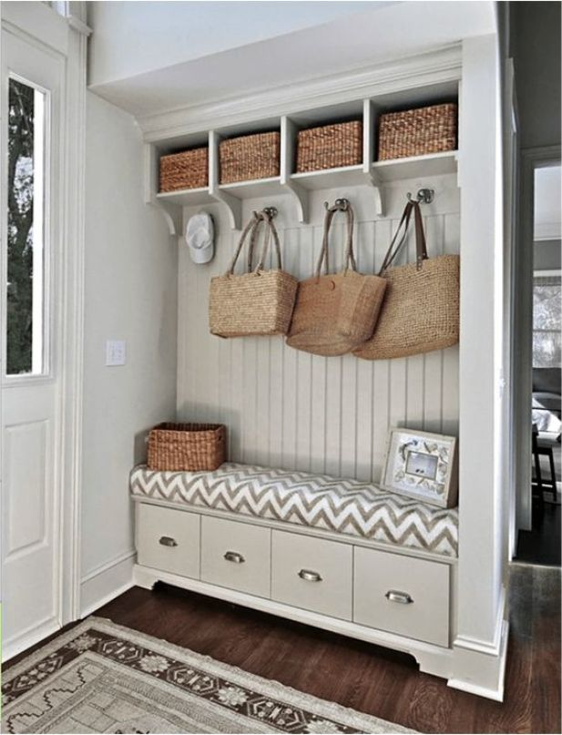 garage mudroom ideas - 23. Rattan Accents for Mudroom - Harptimes.com