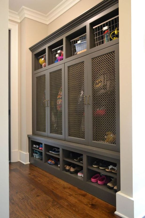 small mudroom ideas - 8. Brass Mesh Doors Mudroom Ideas - Harptimes.com