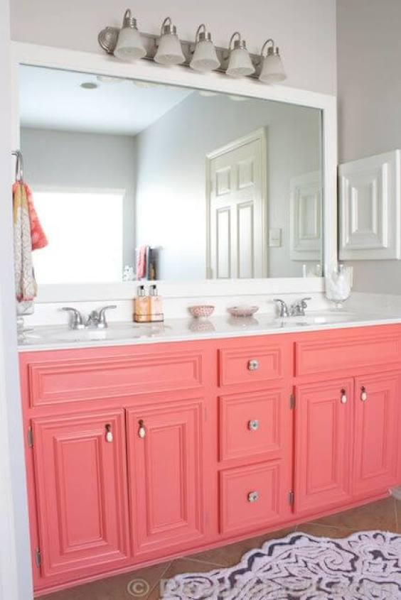 Bathroom Color Ideas White Bathroom with Pink Cabinets - Harptimes.com