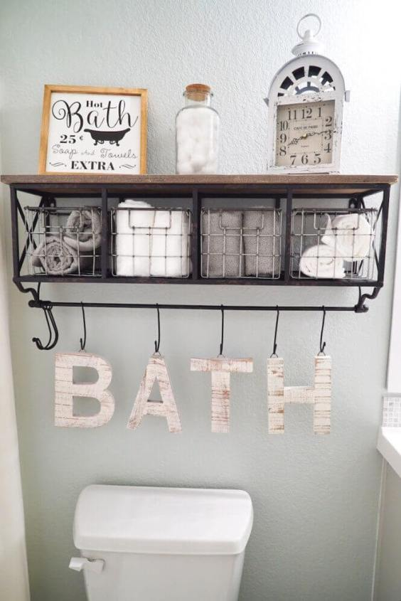 Bathroom Storage Ideas Easy DIY Decoration above the Toilet - Harptimes.com
