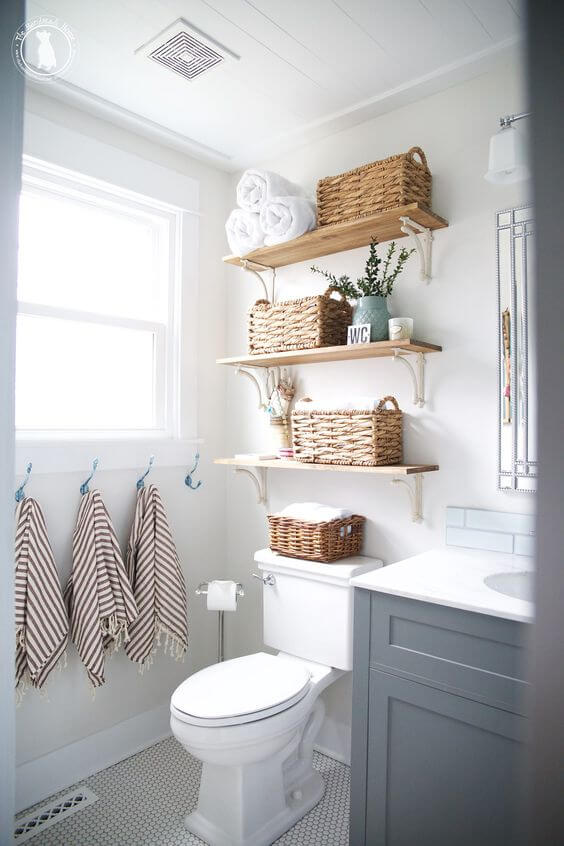 Bathroom Storage Ideas Woven Baskets on Floating Shelves - Harptimes.com