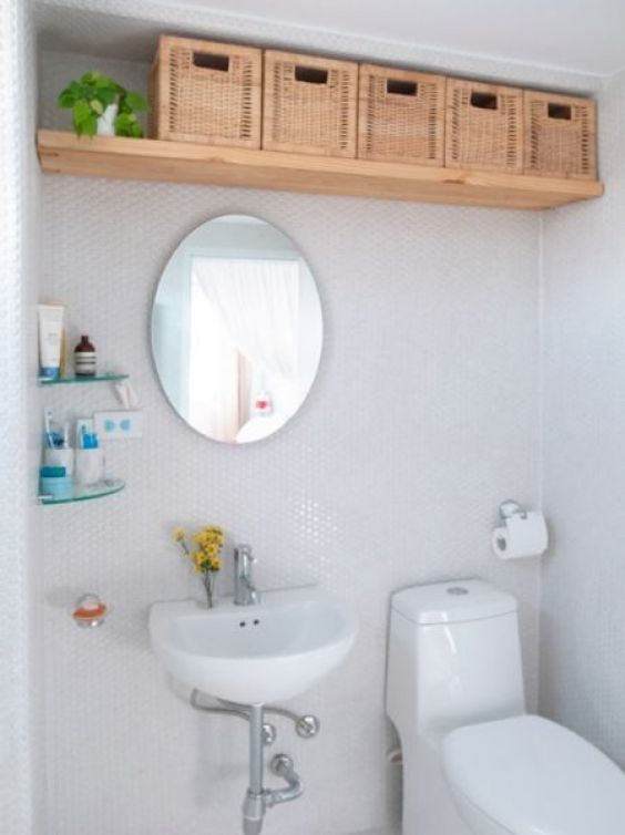 Bathroom Wall Decor Storage on Ceiling Level - Harptimes.com